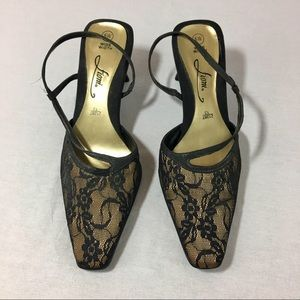 Fioni Lace Fabric Pointed Toe Sling Back Sandals